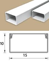 Кабель-канал (Короб) Идеал 15х10мм белый пластиковый (ПВХ) для электропроводки, длина 2м