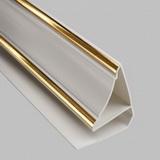 Плинтус потолочный ПВХ 3м Белый Золото для панелей толщиной 7-8мм