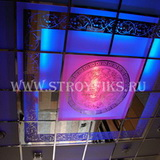 Витражный потолок 600х600мм греция на матовом фоне