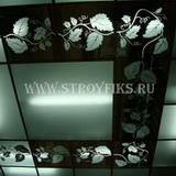 Витражный потолок 300х300мм лоза на зеркальном фоне