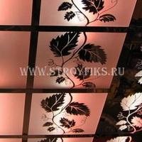 Витражный потолок 300х300мм лоза на матовом фоне