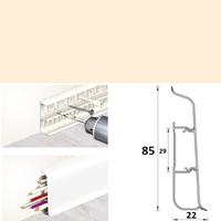 Плинтус 85х22мм напольный пластиковый Идеал Deconika / Деконика Д-П85 034 Светлая слоновая кость (длина-2,2м)
