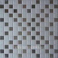 Металлический кассетный потолок с кассетой 300х300мм Cesal 046D Мозайка объемная серебряная