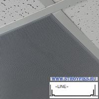 Металлический кассетный потолок с кассетой Line Металлик Перфорированная d=1,8мм 595х595мм