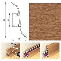 Плинтус 45х21мм напольный пластиковый Ideal / Идеал Альфа А45 206 Дуб коньячный (длина-2,5м)