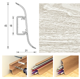 Плинтус 45х21мм напольный пластиковый Идеал Альфа А45 (Ideal) 252 Ясень белый