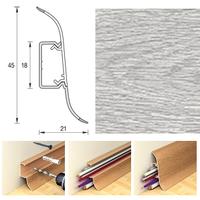 Плинтус 45х21мм напольный пластиковый Идеал Альфа А45 (Ideal) 253 Ясень серый