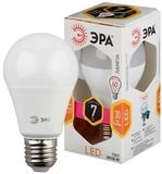 Светодиодная (LED) Лампа Е27 Груша 7Вт 560Лм 2700К Теплый свет Эра LED A60-7W-827-E27 Матовая колба