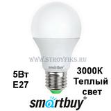 Светодиодная (LED) лампа Е27 Груша 5Вт 3000К Теплый свет Smartbuy-A60-05W/3000/E27 (SBL-A60-05-30K-E27-A) Матовая колба