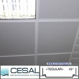 Металлический кассетный потолок с кассетой Cesal K45 Tegular 45° Белая Перфорированная d=1,8мм 595х595мм