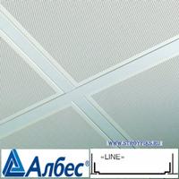 Металлический кассетный потолок с кассетой Албес Line Белая Перфорированная d=1,5мм 595х595мм