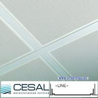 Металлический кассетный потолок с кассетой Cesal Line Белая Перфорированная d=1,8мм 595х595мм