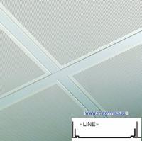 Металлический кассетный потолок с кассетой Line Белая Перфорированная d=1,8мм 595х595мм