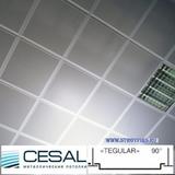 Металлический кассетный потолок с кассетой Cesal K90 Tegular 90° Белая Перфорированная d=1,8мм 595х595мм