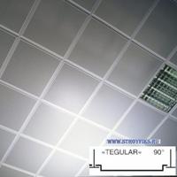 Металлический кассетный потолок с кассетой Tegular 90° Белая Перфорированная d=1,8мм 595х595мм