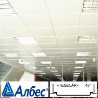 Кассета Албес AP600A6-E / Т24 Белая матовая 600х600 Tegular (алюминий, толщина 0,32 мм)