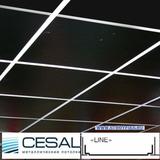 Металлический кассетный потолок с кассетой Cesal Line Черная матовая 595х595мм
