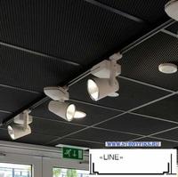 Металлический кассетный потолок с кассетой Line Черная Перфорированная d=1,8мм 595х595мм