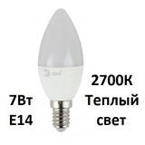 Светодиодная лампа Е14 Свеча 7Вт 2700К Теплый свет Эра LED B35-7W-827-E14 Матовая колба