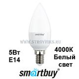 Светодиодная (LED) Лампа Е14 Свеча 5Вт 4000К Белый свет Smartbuy-C37-05W/4000/E14 (SBL-C37-05-40K-E14) Матовая колба