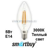 Светодиодная (LED) Лампа Е14 Свеча 5Вт 3000К Теплый свет FIL Smartbuy-C37-05W/3000/E14 (SBL-C37F-05-30K-E14) Прозрачная колба
