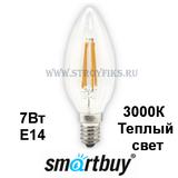Светодиодная (LED) Лампа Е14 Свеча 7Вт 3000К Теплый свет FIL Smartbuy-C37-07W/3000/E14 (SBL-C37F-7-30K-E14) Прозрачная колба