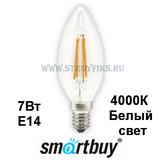 Светодиодная (LED) Лампа Е14 Свеча 7Вт 4000К Белый свет FIL Smartbuy-C37-07W/4000/E14 (SBL-C37F-7-40K-E14) Прозрачная колба
