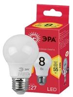 Светодиодная (ECO LED) Лампа Е27 Груша 8Вт 560Лм 2700К Теплый свет Эра ECO LED A55-8W-827-E27 Матовая колба