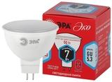 Лампа светодиодная (ECO LED) GU5.3 MR16 7Вт 4000K Белый свет Эра ECO LED MR16-7W-840-GU5.3 Матовая колба