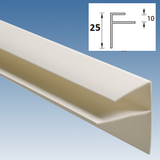 F-профиль узкий 25мм ПВХ 3 метра Белый для панелей толщиной 7-8мм или 9-10мм