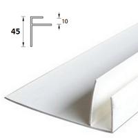 F-профиль широкий 45мм ПВХ 3 метра Белый для панелей толщиной 9-10мм