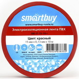 Изолента ПВХ Красная Smartbuy 0.13х15мм, 10 метров (SBE-IT-15-10-r)