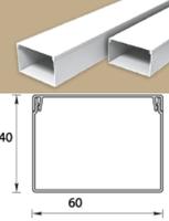 Кабель-канал (Короб) Идеал 60х40мм белый пластиковый (ПВХ) для электропроводки, длина 2м