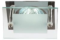 """Светильник Эра KL16 CH квадрат """"Хром с квадратным стеклом"""" точечный встраиваемый MR16, GU5.3, 12V/220V, 50W, 85х85мм (Цинковый сплав)"""