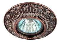 Светильник Эра KL52 SC Медь круглый с гравировкой точечный встраиваемый MR16, GU5.3, 12V/220V, 50W, D=97мм (Цинковый сплав)