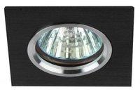 Светильник Эра KL57 SL/BK Серебро/черный квадратный точечный встраиваемый MR16, GU5.3, 12V/220V, 50W, 80х80мм (Алюминий)