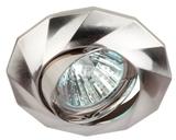 Светильник Эра KL65A SN Сатин никель поворотный точечный встраиваемый MR16, GU5.3, 12V/220V, 50W, D=92мм (Цинковый сплав)