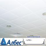 Металлический кассетный потолок с кассетой Албес Line Белая матовая 595х595мм