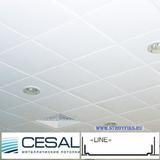 Металлический кассетный потолок с кассетой Cesal Line Белая матовая 595х595мм