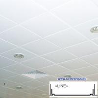 Металлический кассетный потолок с кассетой Line Белая матовая 595х595мм