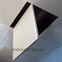 Металлический кассетный потолок с кассетой 600х600мм Cesal 3306 Белый Перфорированный (закрытая система)