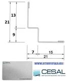 Угол пристенный PLL Cesal 3313 Металлик 15х7х9х13мм, длина 3 метра, W-образный для потолков с кромкой Tegular и Microlook