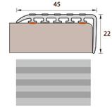 Порог 45х22мм для ступеней прорезиненный пластиковый Идеал 002 Светло-серый (длина-1,35метра)