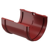 Соединитель желоба водосточной системы Docke (Деке) Premium 120/85мм Красный (Гранат), пластиковый (ПВХ)