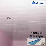 Реечный потолок Албес с рейкой A100AS (100х4000мм) Белый жемчуг (глянцевая), длина 4 метра
