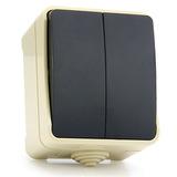 """Выключатель 2-клавишный 10А, IP 54 накладной (открытая установка) Smartbuy """"Сатурн"""" (SBE-04w-10-SW2-0)"""