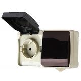"""Блок розетка выключатель, IP54 накладной (открытая установка) Smartbuy """"Сатурн"""" (SBE-04w-16-SWS)"""