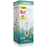 Светодиодная (LED) Лампа Е27 Свеча 9,5Вт 3000К Теплый свет Smartbuy-C37-9,5W/3000/E27 (SBL-C37-9_5-30K-E27) Матовая колба