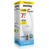 Светодиодная (Диммер) (LED) Лампа Е14 Свеча 7Вт 3000К Теплый свет Smartbuy-C37-07W/3000/E14 (SBL-C37D-07-30K-E14) Матовая колба