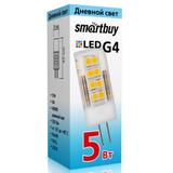 Светодиодная (LED) лампа G4 Капсула 5Вт 220В 4000К Белый свет Smartbuy-G4-220V-5W/4000/G4 (SBL-G4220 5-40K) Прозрачная колба